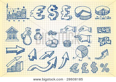 Hand-drawn currency illustration set 3