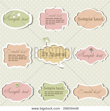 Vector set of vintage frames with polka dot background