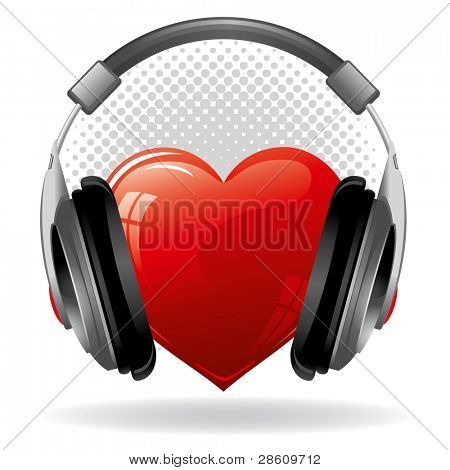 Red heart with headphones. Music concept.