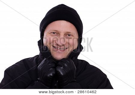 Laughing Man With Cap And Leather Gloves
