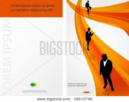 Color template for advertising brochure with people