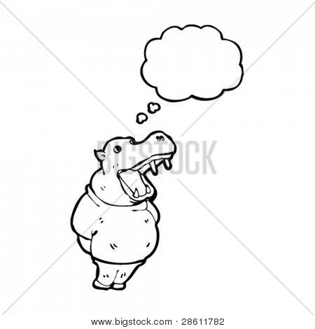 yawning hippo cartoon