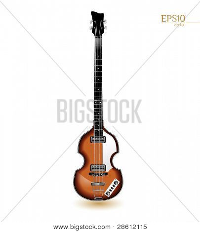 Viola electrical bass guitar from the sixties isolated on white
