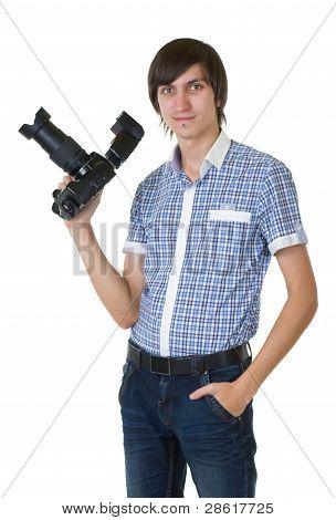 Junger Mann Fotograf Fotos von Digitalkamera zu tun
