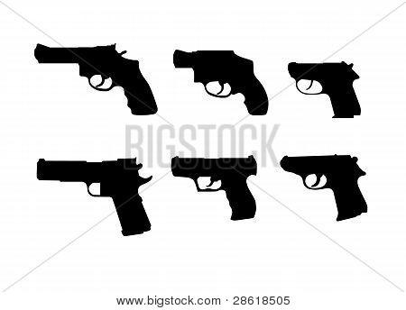 Six hand gun silhouettes