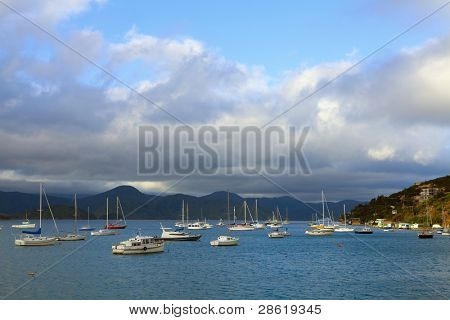 Moored boats in Picton Harbor in New Zealand