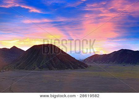 Batok Volcano at Bromo Mountain Region National Park East Java Indonesia at Dusk