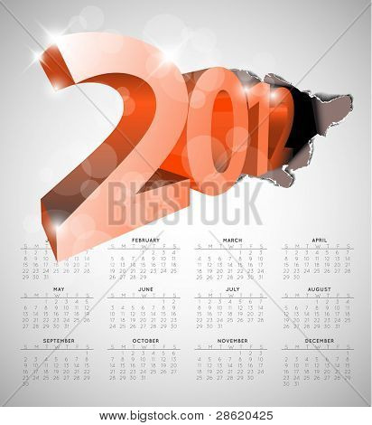 Vector calendar for the new year 2012