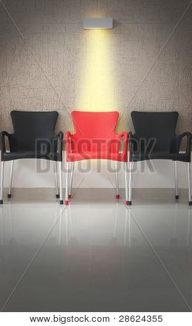 Three Chairs In Line And Light On The Middle Chair