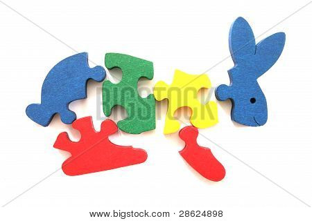 Colorful wooden rabbit puzzle toy