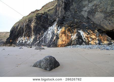Druidston Beach with geological interest in shale Cliffs