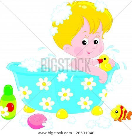 Child bathing with toys