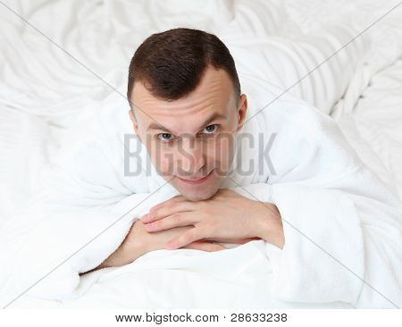 young man in bed