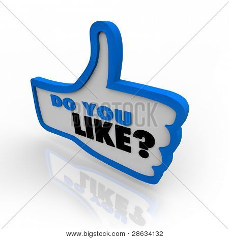 A blue outlined thumbs up icon with the words Do You Like and question mark for approving or liking a website or object under review
