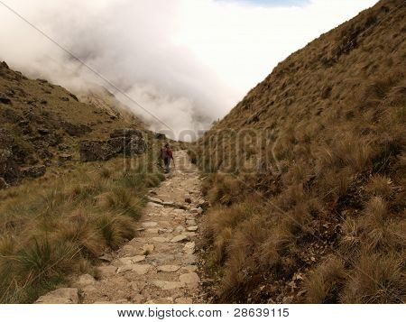 Tourist descending the Inca trail