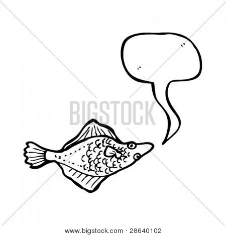 flatfish with speech bubble illustration