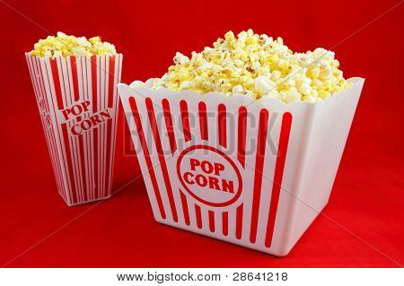 Two Sizes of Popcorn on Red