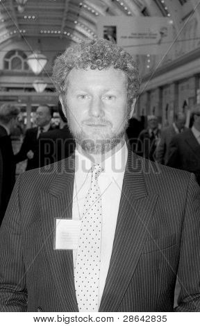 BLACKPOOL, ENGLAND - OCTOBER 10: Jerry Hayes, Conservative party Member of Parliament for Harlow, attends the party conference on October 10, 1989 in Blackpool, Lancashire.