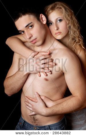 Portrait Of Passionate Young Couple. Isolated