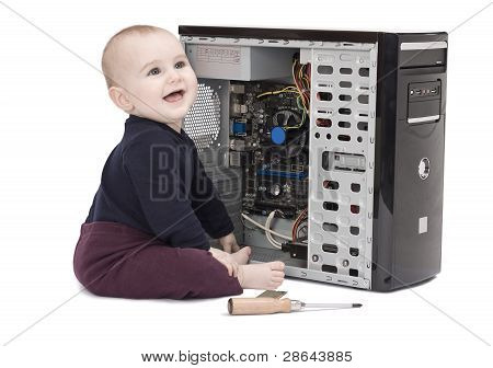 Young Child Wit Screwdriver And Ram