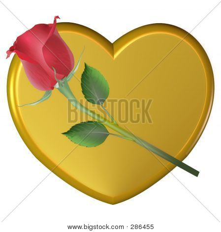Rose And Gold Heart