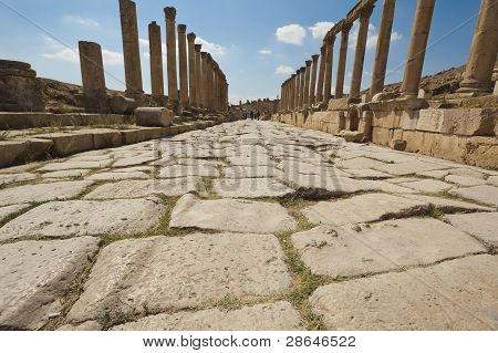 Roman road in Jerash, Jordan