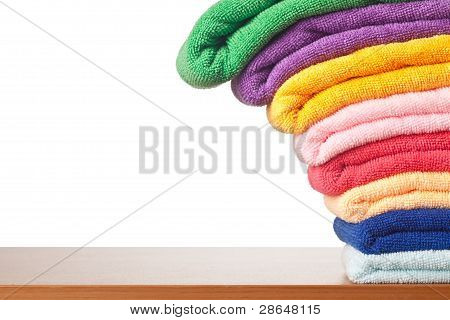 Stack Of Colorful Microfiber Towels Toppling