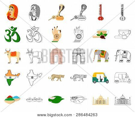 Country India Cartoon Outline Icons