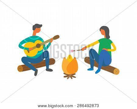 Couple Near Bonfire Singing Songs