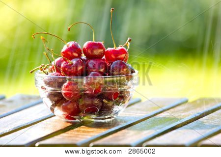 Bowl Of Cherries In Rain