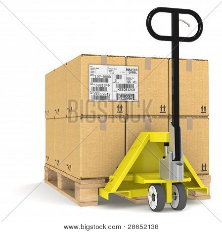 Pallet Truck With Shipping Label, Edi.