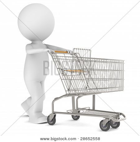 3D Human Character With An Empty Shopping Trolley