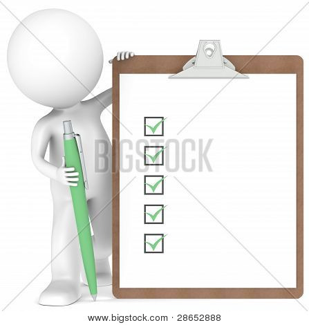 3D Little Human Character Holding A Clipboard And Pen