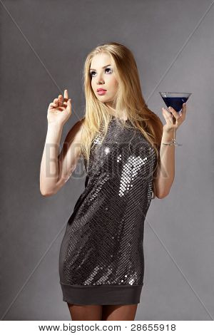 Blonde Woman With Blue Cocktail
