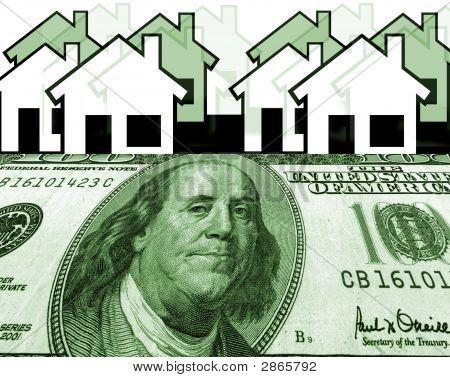 Money Houses, Row Of Houses With Money