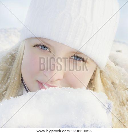 Girl in winter sunny day
