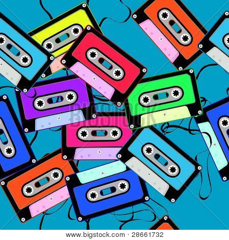casettes seamless pattern