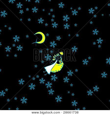Starry sky angel girl illustration