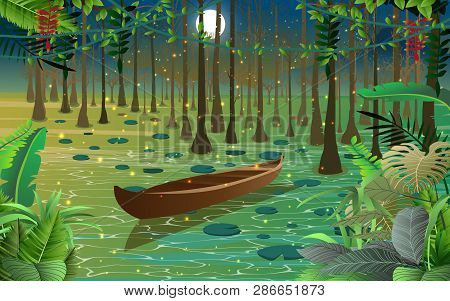 Firefly And Wooden Boat In