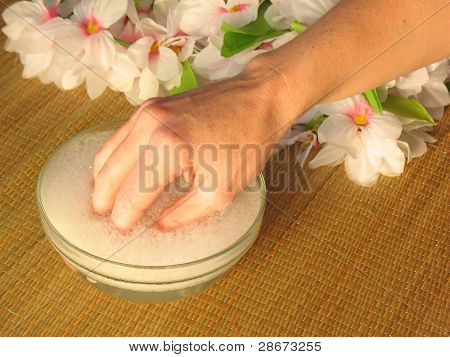 Hand Soaking Before Manicure