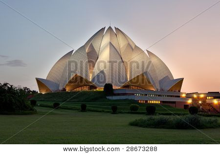 Lotus Temple at sunset