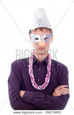 Serious Man Wearing Party Mask