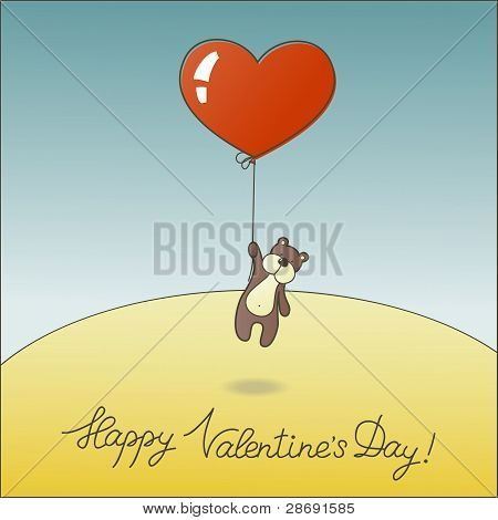 Cute teddy bear with a balloon