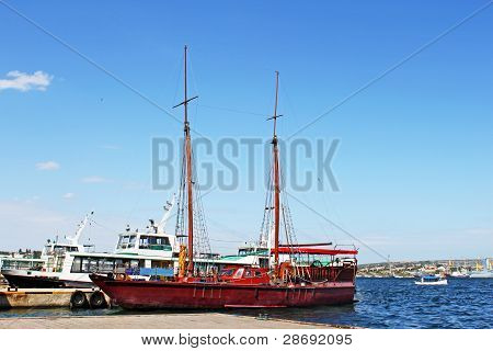 Wooden Yacht For Tourist In Sevastopol, Crimea, Ukraine
