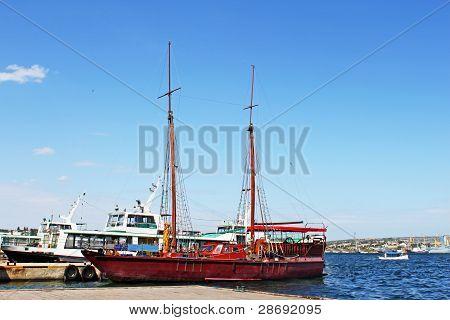 Wooden Yacht For Tourist In Sevastopol, Crimea, Ukraine