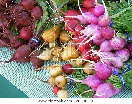 Radishes and beets at farmers' market