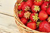 Ripe Organic Strawberries In Basket. Sweet Garden Strawberries. Ripe Fruits On Farmer Market. poster