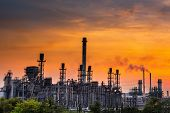 Landscape Of Oil And Gas Refinery Manufacturing Plant., Petrochemical Or Chemical Distillation Proce poster
