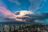 Beautiful View Of Dramatic Dark Stormy Sky. The Rain Is Coming Soon. Pattern Of The Clouds Over City poster