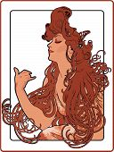 stock photo of art nouveau  - Girl with long red hair vector illustration - JPG